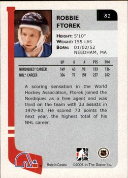2004-05 In The Game Franchises Canadian #81 Robbie Ftorek Back