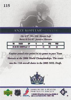 2006-07 Be A Player Portraits #115 Anze Kopitar Back