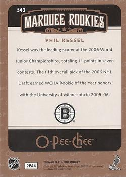 2006-07 O-Pee-Chee #543 Phil Kessel Back