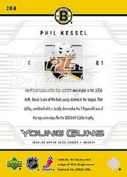 2006-07 Upper Deck #204 Phil Kessel Back