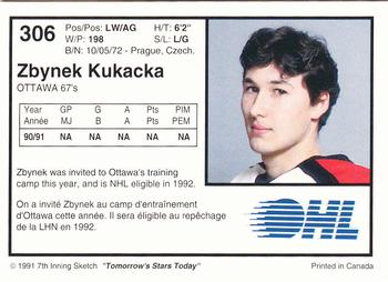 1991-92 7th Inning Sketch OHL #306 Zbynek Kukacka Back