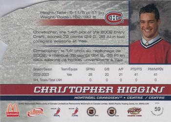 2003-04 Pacific McDonald's #59 Chris Higgins Back