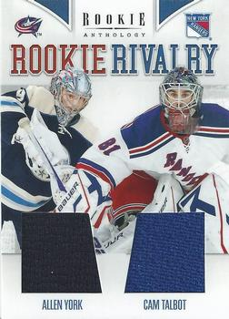 2011-12 Panini Rookie Anthology - Rookie Rivalry Dual Jerseys #41 Allen York / Cam Talbot Front