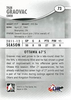 2012-13 In The Game Heroes and Prospects #73 Tyler Graovac Back