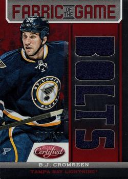 2012-13 Panini Certified - Fabric of the Game Mirror Red Jersey Team Die Cut #FOG-BJC B.J. Crombeen Front