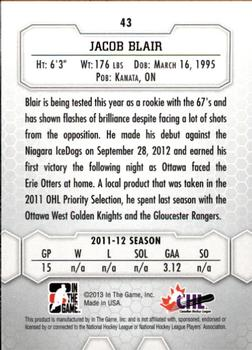 2012-13 In The Game Between The Pipes #43 Jacob Blair Back