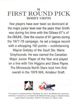 2012-13 In The Game Draft Prospects #91 Bobby Smith Back