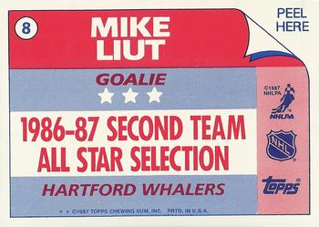 1987-88 Topps - Sticker Inserts #8 Mike Liut Back