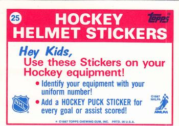 1987-88 Topps - Sticker Inserts #25 Hartford Whalers Back