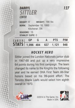 2013-14 In The Game Heroes and Prospects #127 Darryl Sittler Back