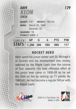 2013-14 In The Game Heroes and Prospects #129 Dave Keon Back