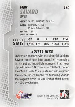 2013-14 In The Game Heroes and Prospects #130 Denis Savard Back