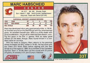 1991-92 Score Rookie and Traded #33T Marc Habscheid Back