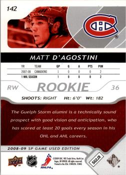2008-09 SP Game Used #142 Matt D'Agostini Back