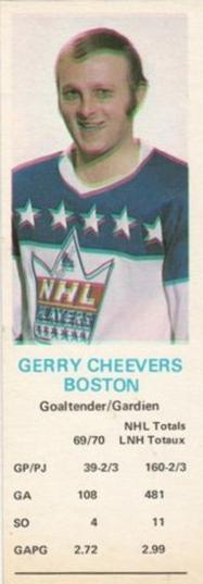 1970-71 Dad's Cookies #NNO Gerry Cheevers Front