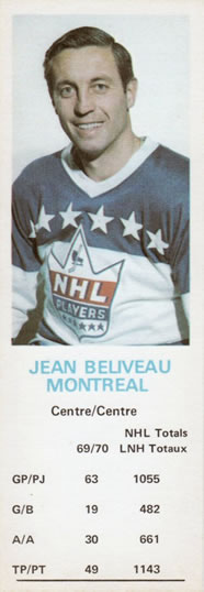 1970-71 Dad's Cookies #NNO Jean Beliveau Front