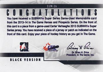 2013-14 In The Game Heroes and Prospects - Subway Series Jersey #SSM-26 Carter Verhaeghe Back