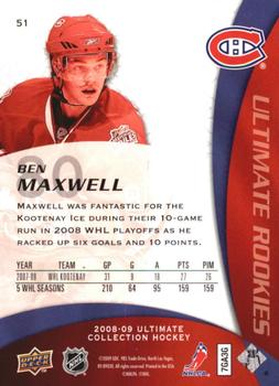2008-09 Upper Deck Ultimate Collection #51 Ben Maxwell Back