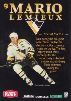 1997 Pinnacle Giant Eagle Mario's Moments - Pinnacle Mario's Moments Gold #8 Mario Lemieux Back
