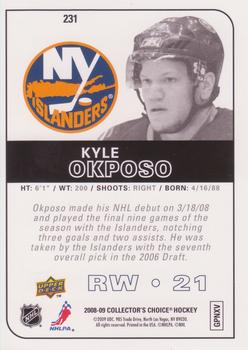 2008-09 Collector's Choice - Choice Reserve #231 Kyle Okposo Back