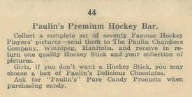 1924-26 Paulin's Hockey Bar V128-1 #44 Ty Arbour Back