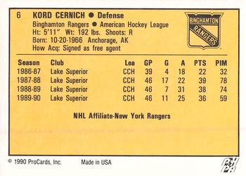 1990-91 ProCards #6 Kord Cernich Back