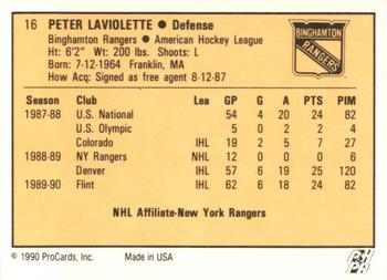 1990-91 ProCards #16 Peter Laviolette Back