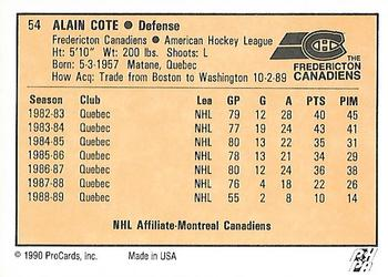 1990-91 ProCards #54 Alain Cote Back