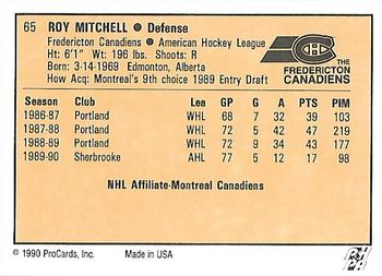 1990-91 ProCards #65 Roy Mitchell Back