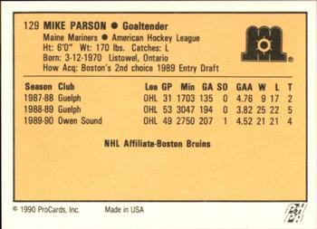 1990-91 ProCards #129 Mike Parson Back