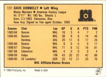 1990-91 ProCards #131 Dave Donnelly Back