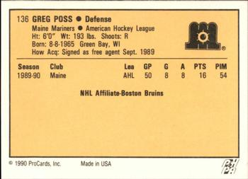 1990-91 ProCards #136 Greg Poss Back