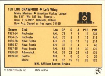 1990-91 ProCards #138 Lou Crawford Back