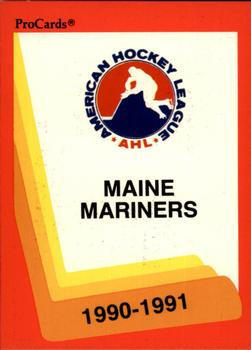 1990-91 ProCards #145 Maine Mariners Front