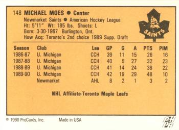 1990-91 ProCards #148 Mike Moes Back