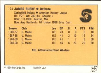 1990-91 ProCards #174 Jim Burke Back