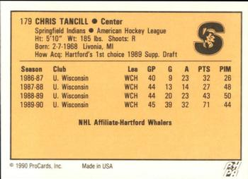 1990-91 ProCards #179 Chris Tancill Back