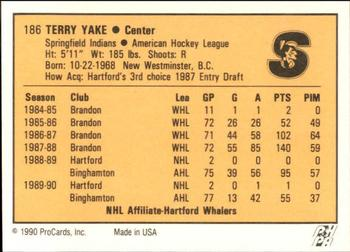 1990-91 ProCards #186 Terry Yake Back