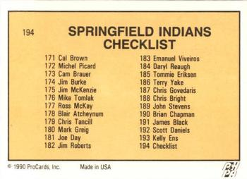 1990-91 ProCards #194 Springfield Indians Back