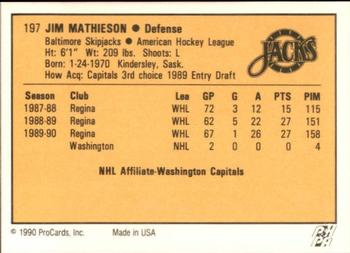 1990-91 ProCards #197 Jim Mathieson Back