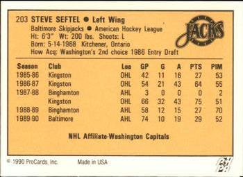 1990-91 ProCards #203 Steve Seftel Back
