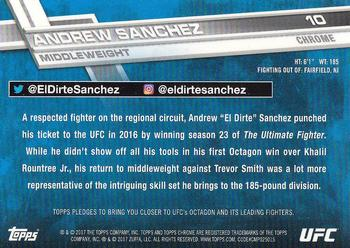 2017 Topps UFC Chrome #10 Andrew Sanchez Back