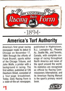 1993 Horse Star Daily Racing Form 100th Anniversary #1 Daily Racing Form  Back