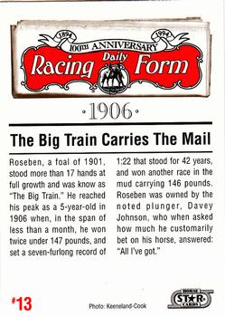 1993 Horse Star Daily Racing Form 100th Anniversary #13 Roseben Back