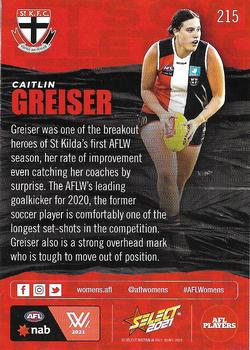2021 Select AFL Footy Stars #215 Caitlin Greiser Back