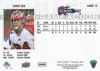 BOSTON CANNONS MASSACHUSETTS JACK RIED 2010 UD LACROSSE TRADING CARD