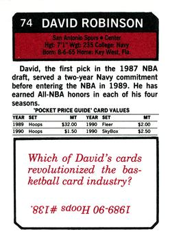 1993 SCD Sports Card Pocket Price Guide #74 David Robinson Back