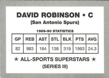 1989-90 All-Sports Superstars Series 1 - 4 (Unlicensed) #NNO David Robinson Back