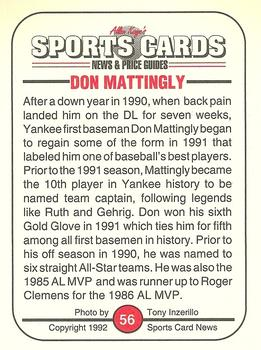 1992 Allan Kaye's Sports Cards News Magazine #56 Don Mattingly Back