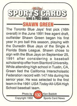 1992 Allan Kaye's Sports Cards News Magazine #132 Shawn Green Back